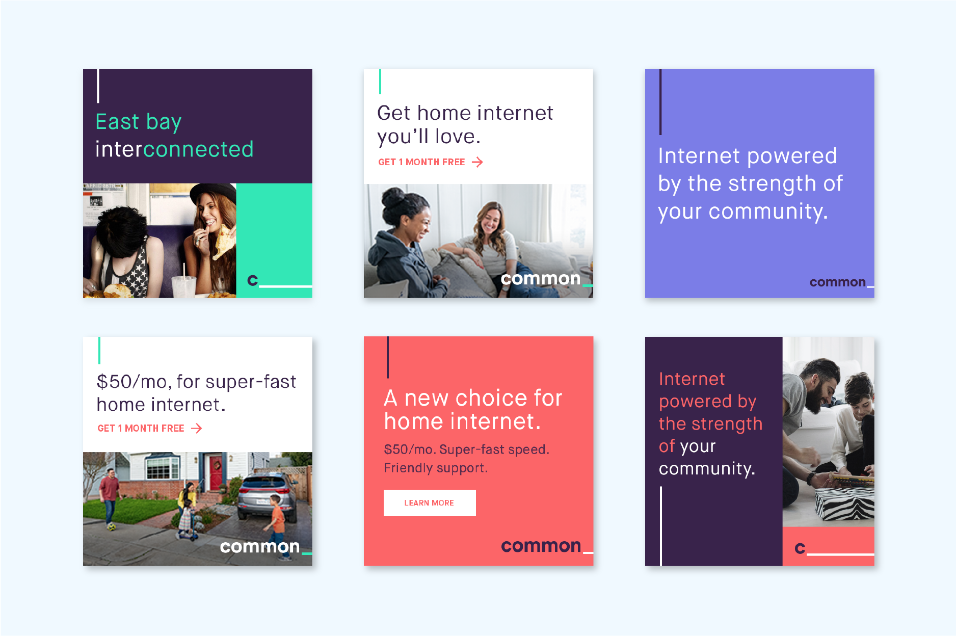 Array of social graphics and digital ads designed for Common Networks