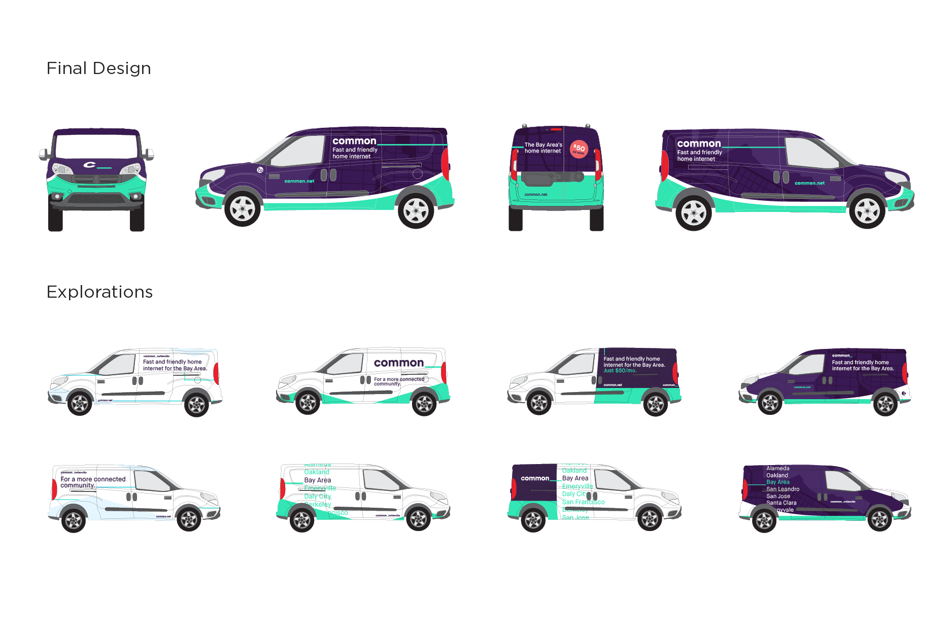Final van wrap designs followed by array of earlier designs and iterations.