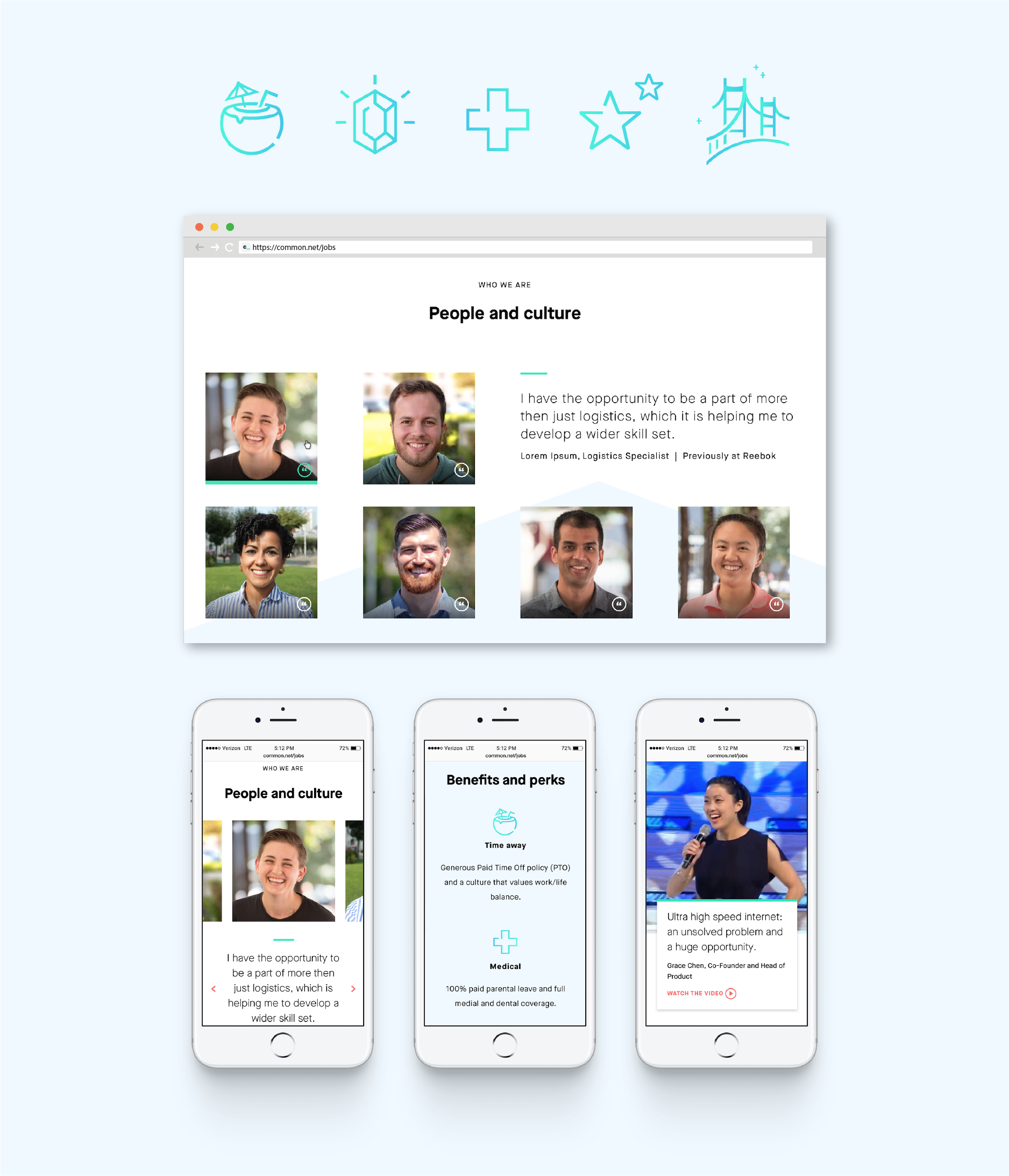 Icons, desktop, and mobile designs for Common Networks jobs page